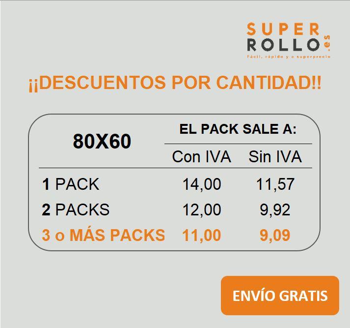 Rollos de papel térmico 80x60 (Pack de 8 rollos)